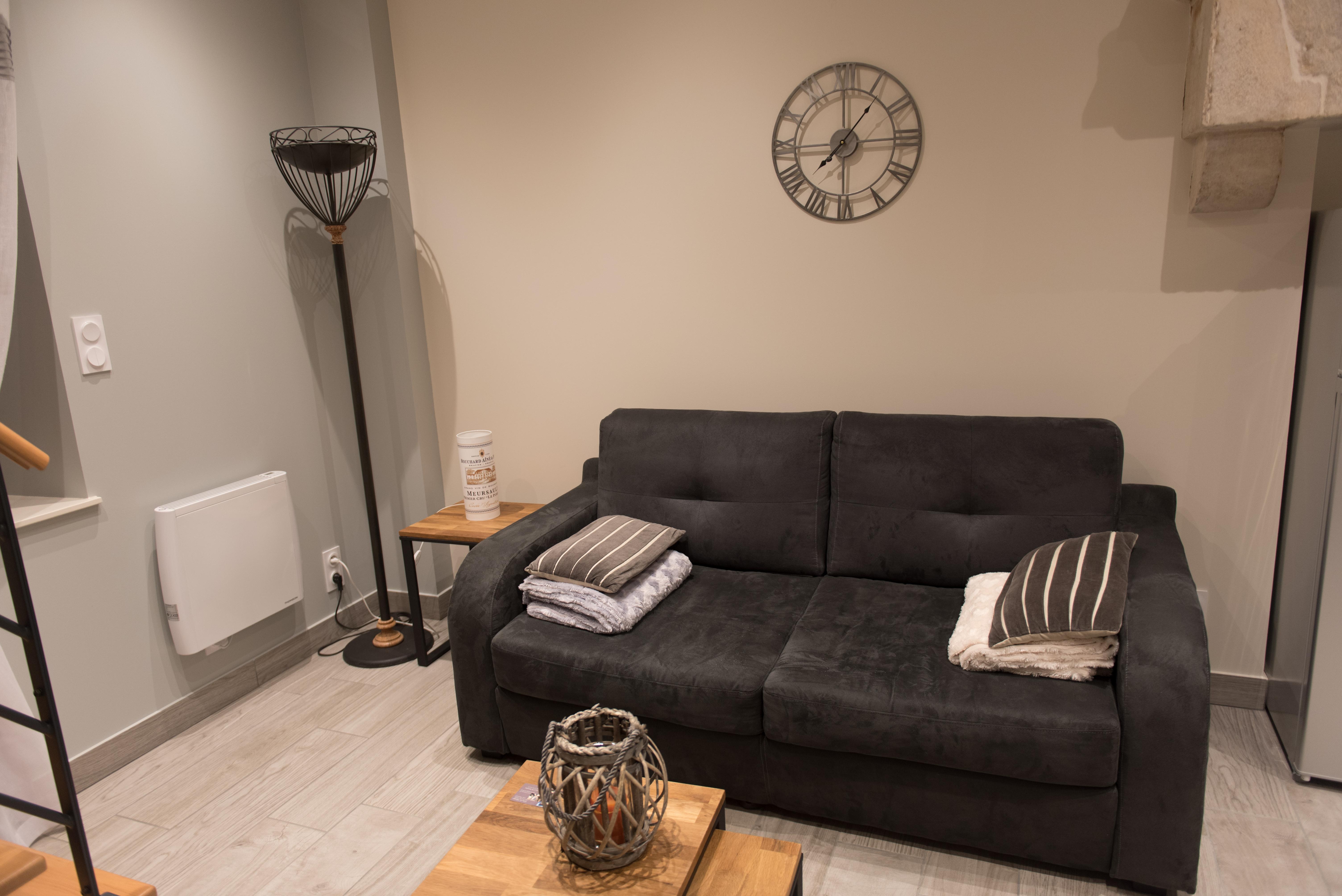 Télévision Table 4 chaises Table basse Meuble tv Canapé convertible 2 fauteuils Penderie et sa tablette de rangement 2 oreillers + couette
